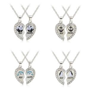 2 шт./компл. лучшие друзья ожерелья сломанный горный хрусталь сердце кулон ожерелья Bff эмаль панда пингвины дельфины дружба ювелирные изделия