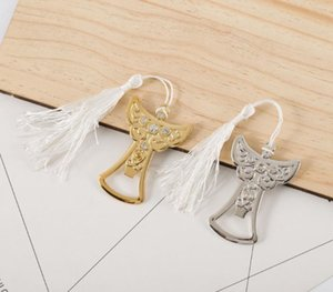 Ángel bebé abridor de biberones Guardian Angel Design Crystal Cap abridor regalos de boda de bronce para invitados boda SN1560
