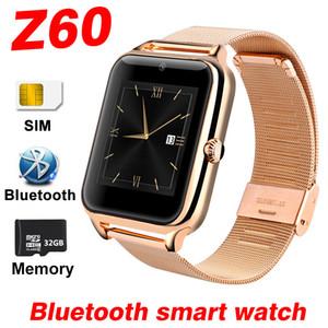 Z60 intelligente Guarda SIM TF card HD chiamata Bluetooth del telefono dell'orologio Music Alarm Registrazione mediante la fotocamera per Android in acciaio inox Full Touch Smartwatch