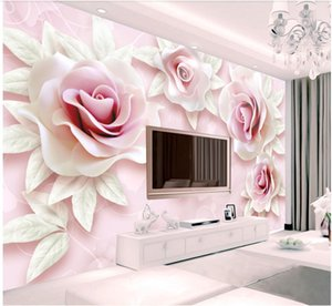 3d papel de parede personalizado pano Photo murais de parede em relevo Pink Rose TV Wall Background casa melhoria 3d papel de parede para paredes 3 d sala de estar