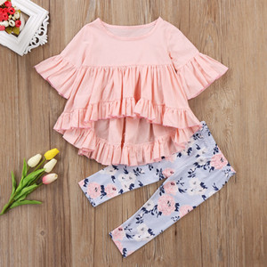 Baby Girl Clothing Cotton T-shirt Top Short Sleeve Pants Flower Floral 2PCS Toddler Kids Lovely Girls Outfits Clothes Sets