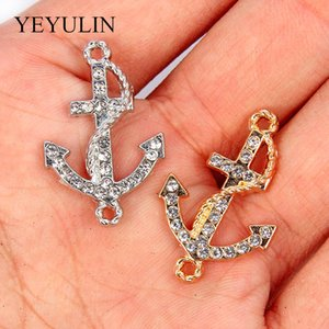 10pcs Gold Silver Mixed Crystal Anchor Charms DIY Pendant Handmade Jewelry Making Necklace Bracelet For Women Men Accessories
