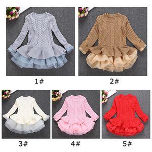 5 colori Natale Nuovo maglione maglia Casual autunno vestiti del bambino manica lunga falso vestiti a due pezzi vestiti della neonata