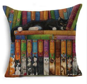 Vintage Cute Animal Cat Pattern Cushion Linen Cotton Pillow Case Throw Pillow Cover Home Decorative 45*45