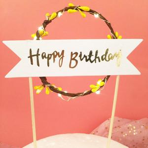 Romantik LED Kek Bayrak Rattan Çelenk Mutlu Doğum Günü Standı Bayrakları Karanlıkta Parlayan Parti Malzemeleri Popüler 8hy B