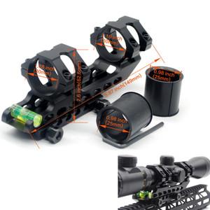 사냥 30mm / 25.4 mm 캔틸레버 오프셋 Picatinny 위버 스코프 링 버블 레벨 레일 마운트가있는 양방향 마운트
