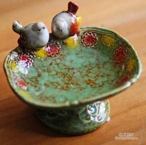 خمر السيراميك الطيور صحن الصابون الفاكهة الحلوى طبق الحمام الملحقات مجموعة عدة الزفاف ديكور المنزل الحرف اليدوية الخزف تمثال