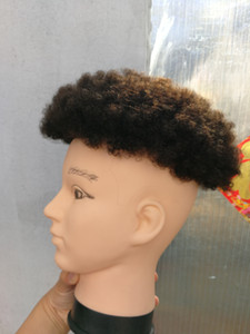 Afro kıvırmak İnsan saç peruk siyah renk kısa hint remy siyah erkekler için saç mens peruk postiş peruk Ücretsiz Kargo