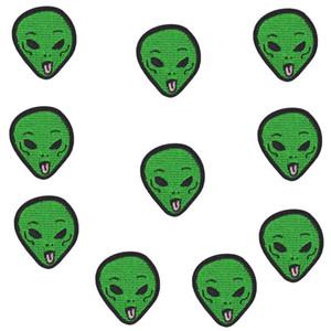 10 STÜCKE Alien head Patches Stoffe Abzeichen Kleidung Zubehör Streifen Nähen Gestickte Patches Bügelanwendungen für Kinder Kleidung Patch Handwerk