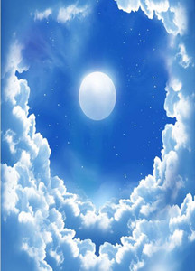 3 d stickers muraux 3d fantaisie ciel bleu nuages blancs lune ciel étoiles ciel zénith fresque