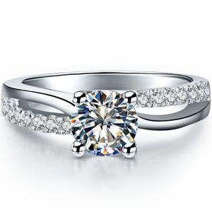 Weihnachten Hochzeit Ring Luxus 1CT SONA Synthetische Diamant Frauen Ring 925 Sterling Silber Ring 18 Karat Weißes Gold Überzogene ...