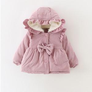 Caldo Inverno Neonate Neonati Bambini Snow Wear Ruffles con cappuccio Bow Principessa Velluto addensare giacca cappotto Parka Outwear