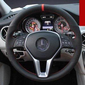 Para Benz GLA200 DIY Costura a mano Cubierta del volante Cuero negro Hilo rojo