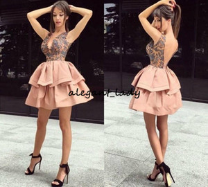 Deep V Neck Cocktail Dresses Lace Appliques Illusion Sexy Backless Short Party Dress Tiered Custom Made Homecoming Gowns Plus Size African