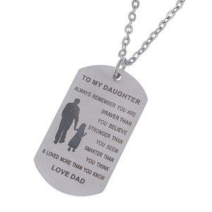 Para minha filha colar de pingente inspirado Tag de cão de aço inoxidável Lembre-se sempre que você é mais corajoso