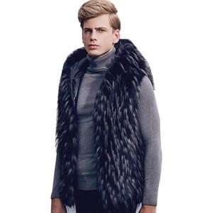 Siyah kalınlaşmak sıcak sahte vizon deri erkek yelek Kapşonlu gündelik giyim camiseta tirantes hombre kişiselleştirilmiş sonbahar kış kore