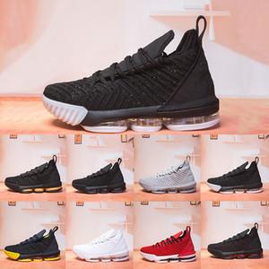 Toptan Yeni 16 16 s erkek basketbol ayakkabı Tüm Siyah Beyaz Şarap Kırmızı Sarı Altın Kurt Gri Sıcak Erkek Atletik Spor Sneakers Ayakkabı 7-12