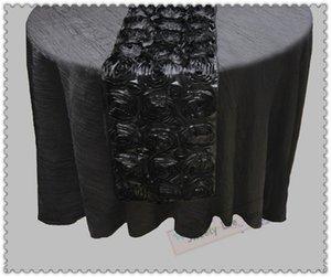 Corredores de cor preta Frete grátis Venda Quente Rose Bordado Mesa Corredor Rosette Satin Table runner para Eventos de Casamento