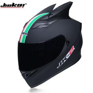 Las mejores ventas Cascos de motocicleta de seguridad aprobados por el DOT Casco de carreras de doble lente de cara completa Fuerte resistencia Casco de fuera de carretera JIEKAI