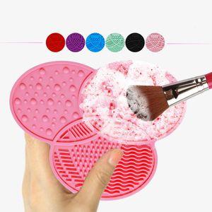 Высокое качество макияж кисти очиститель очистки макияж щетка для мытья силиконовые очистки коврик Коврик с присоской скруббер доска розовый черный зеленый синий