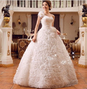 new fashionable sexy multi flowers one shoulder ball gown bridal gowns 2019 custom made plus size wedding dress dresses
