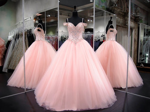 Sweety rosa Spaghetti Tulle Quinceanera Dresses frisados Pedrinhas Bola Top Vestidos Prom Partido vestidos de princesa
