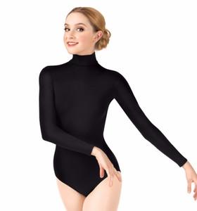 Frauen Langarm High Neck Trikot Gymnastik Ballett Tanz Trikot Lycra Spandex Rollkragen Für Mädchen Dancewear Anzüge