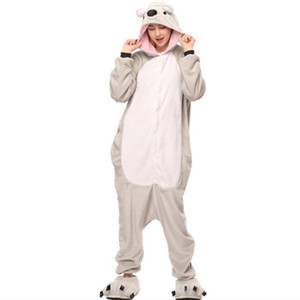 Femmes Onesie Koala Cosplay Pyjama Animal Adultes Salopettes Vacances Festival Parti Costume Hiver Vêtements de Nuit Gris Doux Flanelle