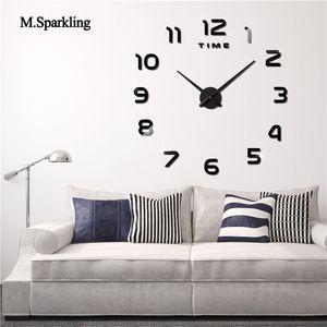 M.Sparkling grandes relógio de parede digital de cozinha 3D sala relógios de parede de design moderno grandes relógios decorativos de DIY para casa