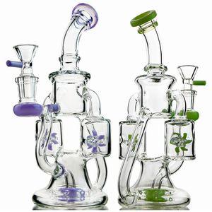 2019 Vidro Bongs original Double Recycler Bong hélice girando Perc Oil Dab Rigs Verde roxo Pipes 14 milímetros de água com Heady Glass Bowl