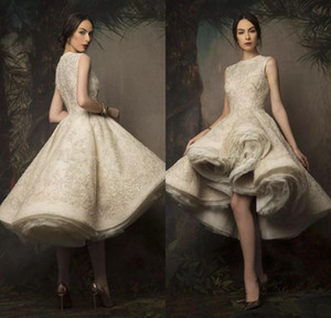 Abiti da sposa a Krikor Jabotian High Low 2020 Gewel Neck Lace Sequined Abito da sposa Rucchitato Organza Bridal Gowns
