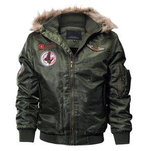 MORUANCLE мужские зимние теплые куртки бомбардировщик флис подкладке толстые куртки тепловой полет и пальто с капюшоном меха плюс размер M-4XL