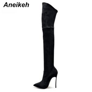 2018 весна / осень женщины сапоги стрейч тонкий бедро высокие сапоги мода над коленом высокие каблуки обувь женщина Sapatos D-226#