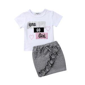 Yenidoğan Çocuklar Bebek Kız Kısa Kollu Üstleri T-shirt Denim Etekler Çiçek Kıyafetler Giysileri Yaz Set