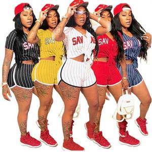 Mujeres casual chándal a rayas Gimnasio Conjunto de ropa Conjunto de letra Imprimir T-shirts + Shorts Plus Size Sweater 2 piezas Set de béisbol