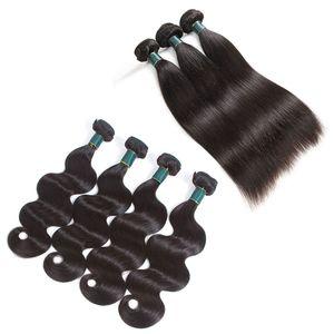 Gran calidad de la onda del cuerpo de la armadura del cabello humano recto 3 o 4 paquetes de la extensión del pelo de la Virgen mongol india malaya brasileña peruana barata