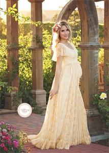 Mujeres vestido de maternidad fotografía apoya Encaje Embarazo ropa de maternidad Vestidos para embarazadas Photo Shoot Lona Más