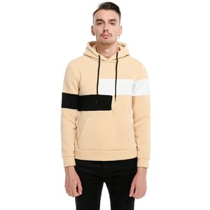 2018 Autumn new pullover patchwork hoodies sweatshirt men's hooded long-sleeved fashion Jacket coats Europe size XXL