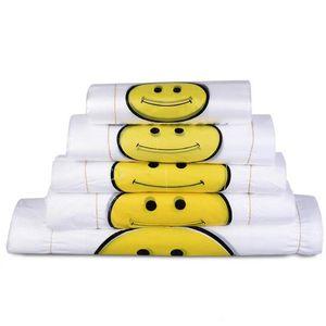 50 % off 휴대용 플라스틱 가방 투명 웃는 얼굴 사용자 지정 신선한 소재 방수 다목적 조끼 쇼핑 가방