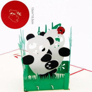 3D pop-up Panda tarjeta de felicitación de corte por láser sobre Animal postal hueca tallada hecha a mano kirigami Niños regalo creativo