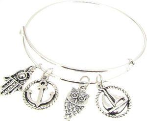 Vintage argent Hamsa main voilier ancre hibou charmes extensible fil Bracelet artisanat mariage manchette bracelets pour femmes bijoux accessoires NOUVEAU