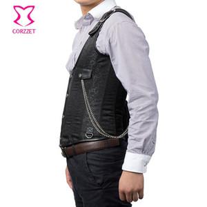 Broccato nero con fibbia monospalla Colete in acciaio disossato corsetto Steampunk gilet uomo gilet giacca gotica vintage Chaleco Hombre Cool