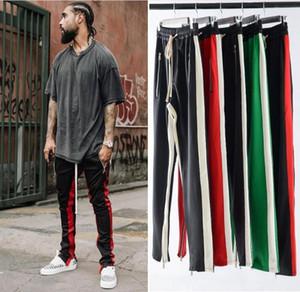 2018 NUOVO TOP kanye west rosso bianco verde strisce pantaloni da uomo hip hop patch track piedi pantaloni pantaloni cerniera laterali pantaloni sportivi