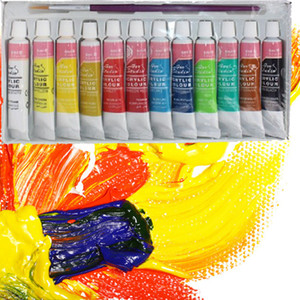 12 Renkler Profesyonel Akrilik Boyalar Set El Boyalı Duvar Boyama Tekstil Boya Parlak Renkli Sanat Malzemeleri Ücretsiz Kargo