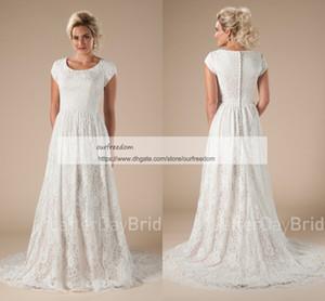 2019 겸손한 전체 레이스 짧은 소매 웨딩 드레스 보석 목 라인 지퍼 뒤로 스윕 기차 Boho Rustic 50 'S Bridal Gown Hot Sale