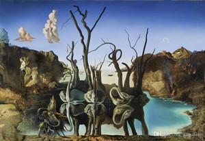 Kostenloser Versand Schwäne reflektierende Elefanten Salvador Dali Kunstdruck Poster 24 x 36 Kunst Poster Drucke Home Decor Wall Paper 16 24 36 47 Zoll