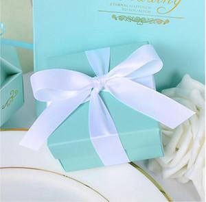 40 adet / grup Romantik Düğün Dekor Kelebek DIY Şeker şekeri Çerez Hediye Kutuları Düğün Şeker Kutusu Kurdele ile Tiffany Mavi