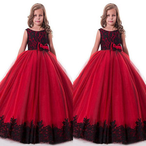 Glamorous Kinder Festzug Kleider Schönheit Spitze Appliques Schwarz Und Rot Blumenmädchen Kleider Vestidos De Comunion Kinder Formelle Kleidung