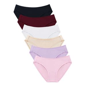 Wealurre 6Pcs Underwear 여성 섹시한 팬티 코튼 스판덱스 팬티 Middle Waist Solid Briefs 통풍 여성 비키니 팬티