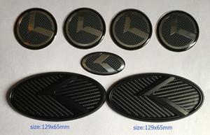 Nouveau logo 3D en carbone noir K emblème 7pcs / set en forme KIA nouveau Forte YD K3 2014-2015 / emblèmes de voiture / autocollant 3D